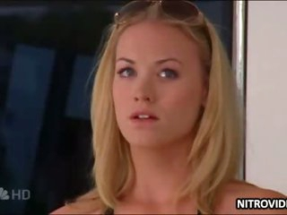 Gorgeous Blonde Actress Yvonne Strahovski In a Sexy Black Bikini