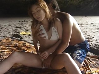 Sexy Asian Babe Mami Sucks and Fucks a Cock in a Cave on the Beach