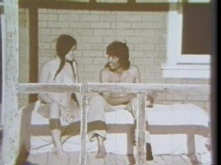 Pigtailed Brunette Slut Sucks Cock in a Porch - Vintage Porn Scene
