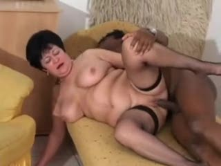 Mature in fishnets fucked by black stud