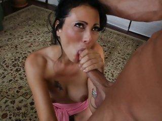 Nasty Zoe Holloway shoves a hard dick down her throat