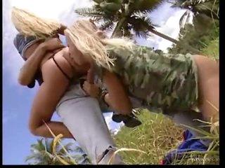 Fuck threesome in field in the tropics