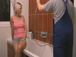 Blond Girl Sucks And Fucks In Bathroom