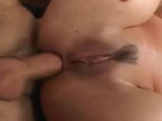 Chubby brunette gets her ass stretched