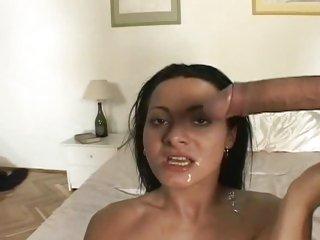 Sandra Romain gets her face splattered with hot jizz