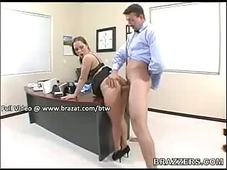 Busty secretary sucks dick in her office while grabbing onto her huge rack!!