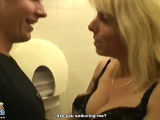 Cheating on her hubby in the restroom