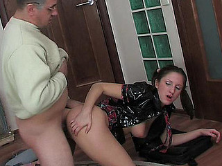 Vivacious girlie having an aging male poking her wet crack in each which way