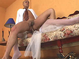 Lascivious shemale bride having rocky-hard pole for her fiance to engulf on