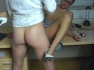 A sure way to get ahead at work is to give some head. The sexy brunette amateur teases her boss with her short skirt and tits that pop out. There's nothing left to do but take out his dick and shove it in her orifices.
