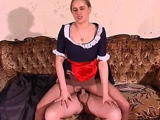 Hawt maid blowing inflexible dick and getting her cunt boned throughout ripped hose