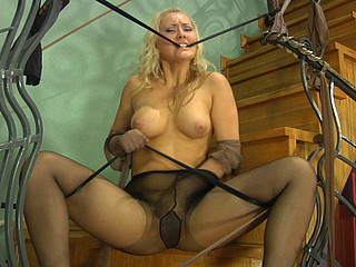 Kinky chick in control top hose grinds her bawdy cleft against stretched tights