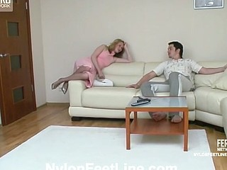 Pantyhosed chick giving great footjob begging for steamy doggystyle bout