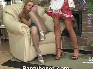 Sultry French maid in pink hose itching for lesbo licks and slits play