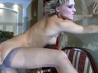Red hawt chick in grey control top hose gives legjob in advance of nylon screwing