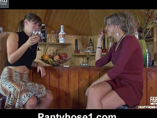 Drunken lesbo gals strip to their smooth hose for some strap-on drilling