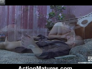 Chubby older wakes up a stud with a blow job aching for some coarse fuck