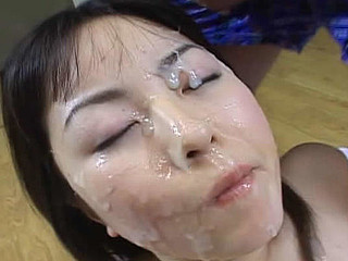 Manami Yoshii gets cumshots  plays with cum and swallows it.
