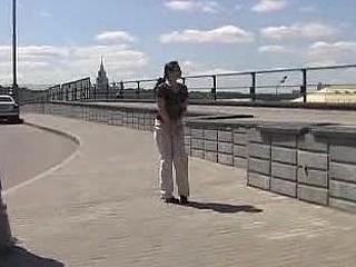 Public pee fail of a cutie in beige pants