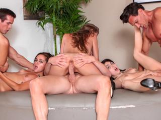 three neighbors pass their slutty wives around like fuck-toys