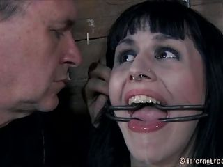 Katharine's pink juicy lips are perfect for sucking cock only that there's a small problem, she doesn't opens her mouth! The executor took care of that and tied the slut before opening her mouth with a device. Now she's conditioned to keep her sensual mouth opened as he goes deep in her throat.