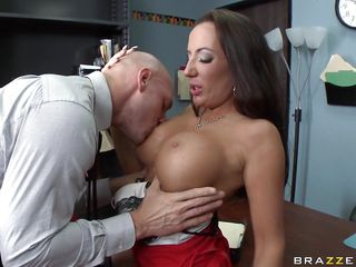 Johnny Sins is getting on one of his workers for trying to  steal something. Look at her long hair, her big fat tits and the way she moans while he licks her hard nipples. Do you think she is going to take some cock in that dirty mouth?