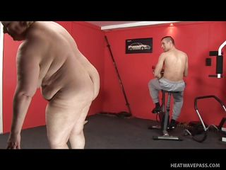 Instead of doing some muscle stretching and fat burning, the young trainer could not control himself to touch and screw the fat lady who can pass as her grandma! His boner was so obvious that the matured mild just had to suck his sweaty dick. Maybe sexing it up is a better way to get fit instead?