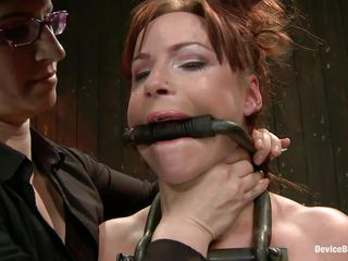 And so is a kinky session of bdsm! This whore stays in her knees all tied up and with her boobs squeezed while her mistress, just like she is, has a blindfold around her eyes. The mistress spanks the slut with an electric wand and the rest is for you to watch and enjoy it!