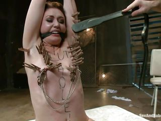James is sick and tired of her attitude and decides to dominate her. After adding some more clothespins on her thin white body he sticks his dick between her juicy lips and the way she's sucking it makes him ease her punishment and removes a few pliers, will she be a good girl from now on?