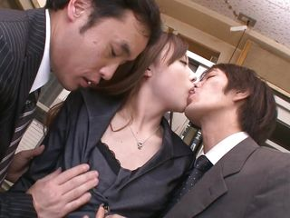The moment Aiko comes in, wearing her corporate suit and having that bossy attitude her colleagues greet her with a few kisses and much much more! They begin to undress the slut and bend her over the desk to lick that juicy cunt. After the licking one of the guys sticks his finger and maybe he will insert his cock too