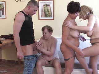 Together these sluts have almost a century of sex experience and they prove that by rubbing and fingering their cunts and sucking their nipples too. This guy is not receiving only a intense blowjob from a women who knows what she's doing, he is in the middle of their sex party and has a lot to learn!