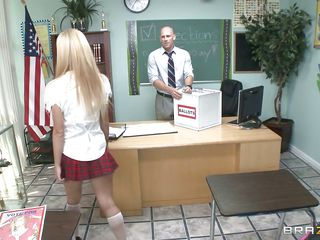 Jessie Rogers is a naughty schoolgirl and her teacher notice her perfect round ass, touching it and making her horny. She enters the classroom after him and puts his hands on her big hot breasts making him lick those gorgeous tits, taking off her clothes and revealing that perfect body. Look at this perfect teen, it makes you..