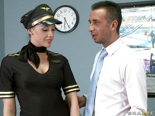 Look at this gorgeous brunette as she loves playing her role as a stewardess. Are her long sexy legs, juicy lips and hot breasts going to receive some loads from this happy customer or is he going to fuck that nice perfect tight ass with his hard cock making this slut moan with pleasure?