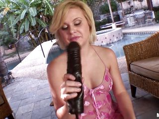 Nauthy blode loves her sex toys. She first puts her dildo in her mouth sucking it like a good girl and then spreads her sexy legs and inserts the dildo in her shaved cunt. Look how much she enjoys stuffing her pussy with that huge black dildo Will a guy come in and give her a real cock in tight ass