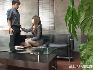 Sumire is conducting an interview of a promising, young, potential employee. She likes his answers and even though it's an office, there's a physical as well which she does personally. She has him get undressed, then examines him further by sucking his rock-hard dick. I think he's got the job!