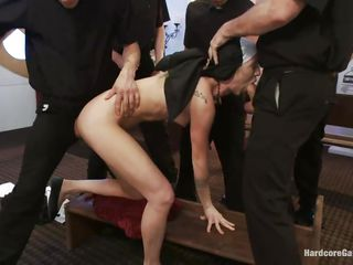 Slutty nun receives a hard gang fuck. She gags with the guys cocks and they slap her face when she starts to gag to much. The men rips her clothes off and leave her naked revealing a sexy slim body with small tits and hot thighs. Will she say her prayers while getting fucked in the mouth and ass in the same time?