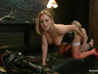 These beautiful blonde milfs wanna use their sex toy and after some anal fingering one blonde uses a face strap on to fuck the hot tight anus of the other one. She goes deep in that gorgeous ass and makes her burst with pleasure while fucking her from behind and watching how the dildo enters in the anus.