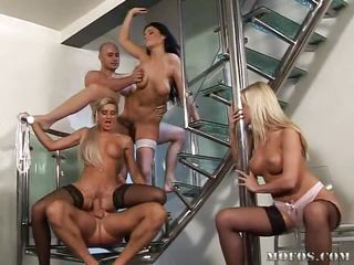 It's a wild orgy going on here and the Czech chicks are loving it. These boys and girls fuck where and when they want and this time they are doing it on the stairways. Pussy licking, blowjobs and deep hard fucking are just the warm up for what's about to cum. Enjoy the show!