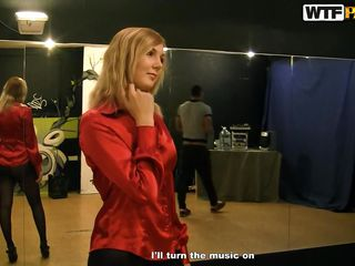The boys are out again, this time at a dance studio. They've just picked up Sidney, and she's now dancing, learning to do it sexy, showing her body. They're trying to get her to strip and complimenting her on what she shows. Soon she's on her knees, taking a big dick in her mouth.