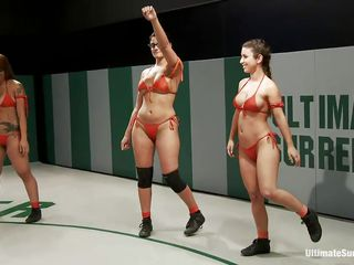 Hot naked milfs can`t wait to wrestle because they want to get the other bitch dominated. Strong, tattooed bitches start the fight on their knees and then catch each other in hot sexual clutches. On the one side, it feels good to get your pussy licked, but they have to escape otherwise will loose the fight!