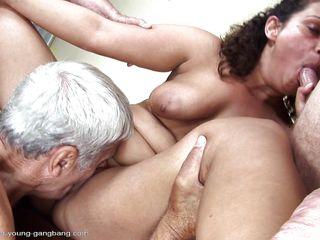 Gabrielle is a chubby milf with big tits who has a thing with old mens so she buries her tongue in their assholes. The guy with white hair probably loves shaved vaginas because he just can't stop licking her pussy. After all, what old man could hold back when he haves a chance for fucking an younger girl?
