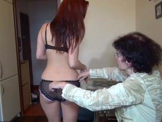 Old granny and sexy juvenile stunner masturbating jointly