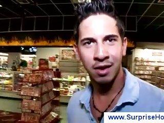 Latino horny guy at gloryhole
