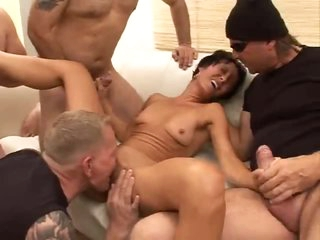 Skinny milf excited to be in gangbang