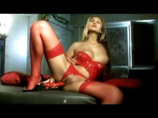 Hot as hell in red latex lingerie set