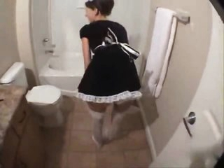 French maid in his bathroom blows and fucks