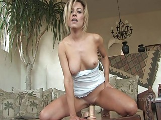 Jodie gorgeous blonde girl posing naked and toying pussy with a large dildo
