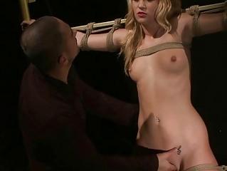Hot blonde getting bondaged and punished