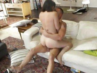 Sleazy Bobbi Starr rides her pussy on a hard boner
