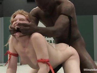 Amber Rayne being a submissive whore and letting a black man fuck her hard
